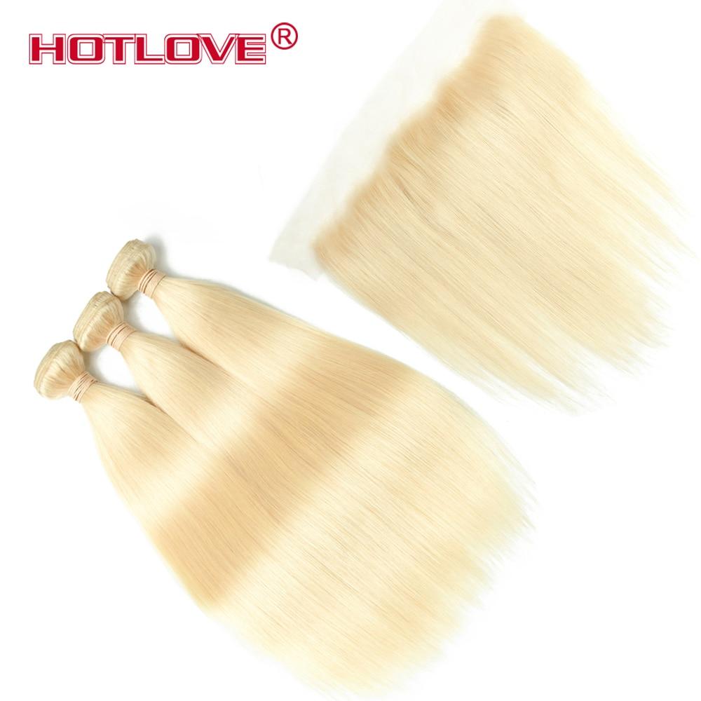 Hotlove Péruvienne 613 Faisceaux Blondes Avec Frontale Pré Cueilli Directement Cheveux Miel Platine Blonde Bundles Avec Fermeture Remy Cheveux