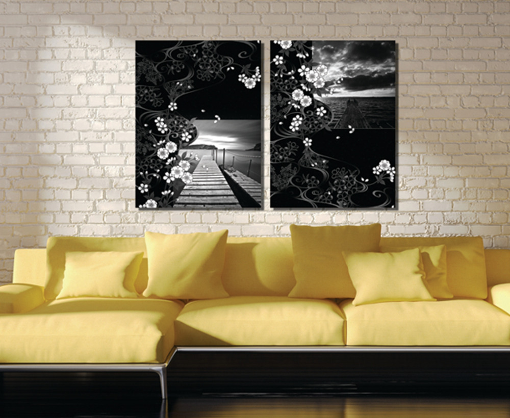 2Pieces no frame free shipping Canvas Prints Black white painting ...