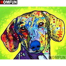 HOMFUN Full Square/Round Drill 5D DIY Diamond Painting Color dog Embroidery Cross Stitch 3D Home Decor Gift A11472