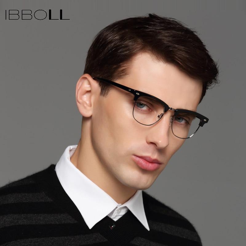 57860eb406fd ibboll Vintage Men Optical Glasses Frame Luxury Brand Clear Lens Eye Glass  Frames Mens Round Eyeglasses