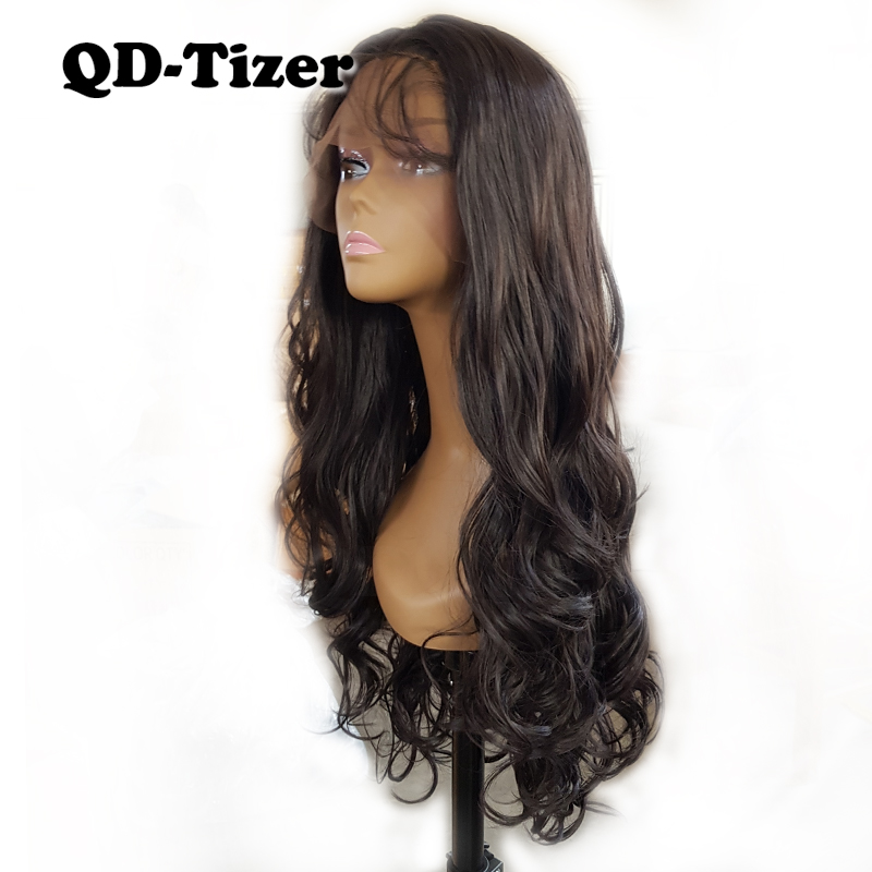 Brown Color 4 Body Wavy Synthetic Lace Front Wig Glueless Hair Baby Hair Natural Hairline Long