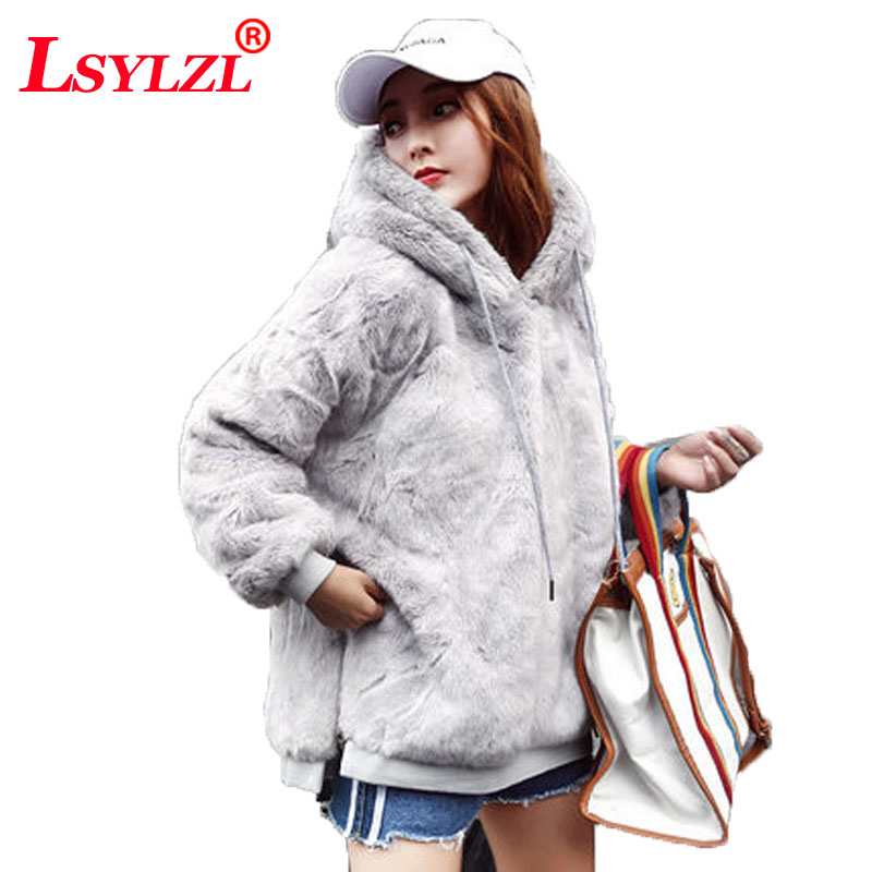 Learned Faux Fur Fluffy Hoodie Autumn Winter Casual Women Hoodies Sweatshirts Grey Long Sleeve Womens Hoodies Pullover Thicken Coat C324 Women's Clothing