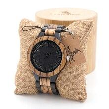 Бобо птица мужская орех и черного дерева деревянные часы со всеми дерево ремень Аналоговые Кварцевые с качеством Miyota движение