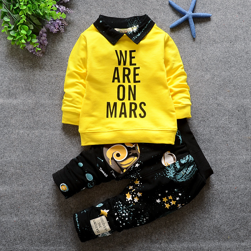 baby boy clothing sets 2016 new spring fashion newborn baby suits 2pcs letters lapel long sleeve pullover jacket+printed pants