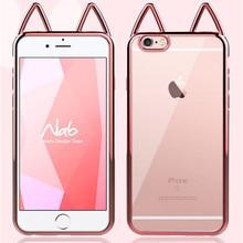 Модные милые Мультяшные кошачьи уши чехол для Apple iphone 6 6S 7 8 плюс мягкий силиконовый прозрачный девушка телефон чехол для iphone 7 X