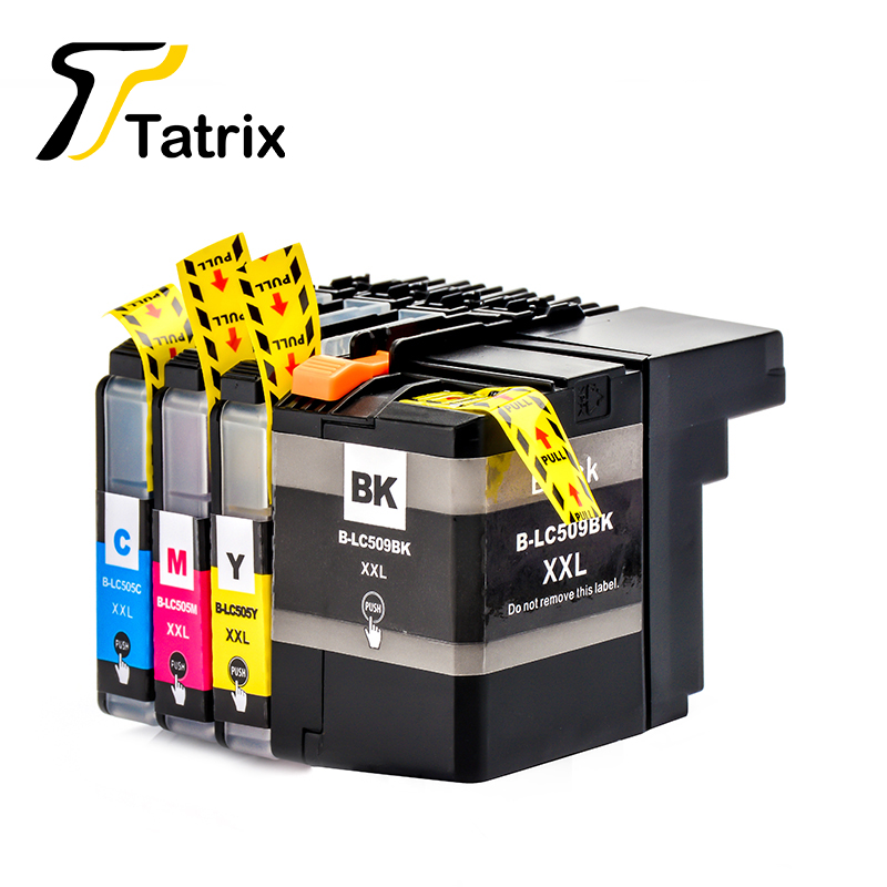 Tatrix 4pk para o irmão lc509 lc505 cartucho de tinta para o irmão DCP-J100 DCP-J105 MFC-J200 impressora