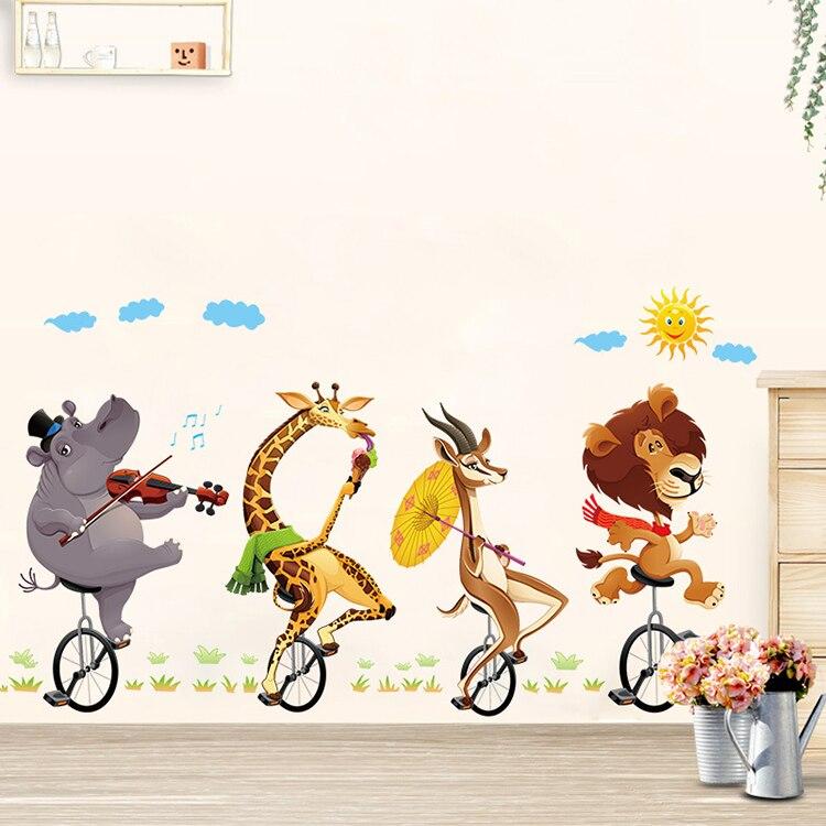Animal da floresta leão grande adesivos de parede decalques crianças room decor nursery school diy removível