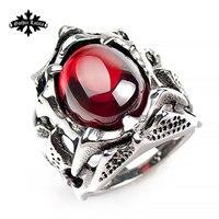 التنين طاقم مجوهرات اصطناعية المقاوم للصدأ السبابة خاتم فاسق خمر الأحمر ستون للرجال