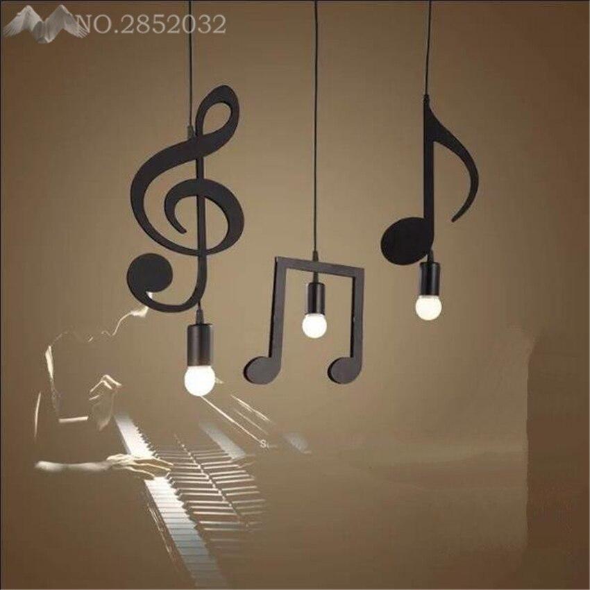 modern LED Pendant Lights Music Note Iron hanglamp for Dining Room Restaurant kitchen Bedroom industrial hanging light fixtures