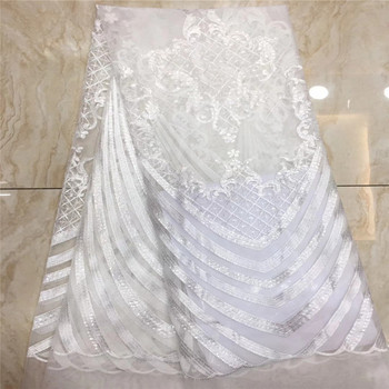 Madison African Sequins Lace Fabric 2019 High Quality Lace French Tulle Lace Nigerian Lace Fabrics For Wedding Dress