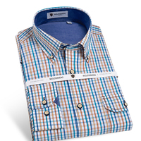 Men S Long Sleeve Contrast Plaid Casual Button Down Shirt With Double Pocket Comfort Soft 100