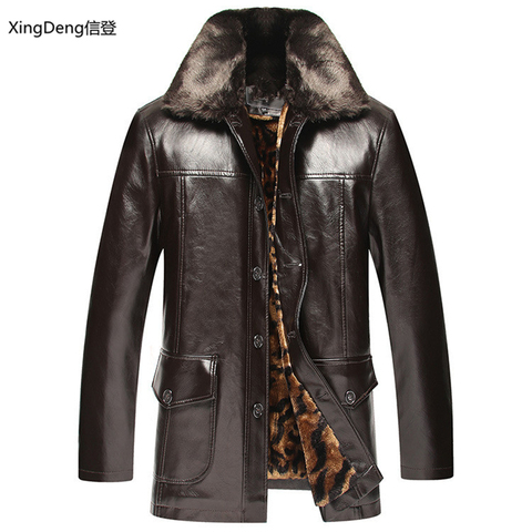 XingDeng Brand Leather Jackets Men Waterproof Zipper Loose Casual dressy tops overcoats Business Winter Male cabi clothes Lahore
