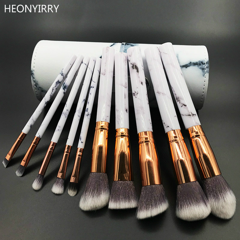 10pcs Professional Marble Makeup Brushes Soft Makeup Brush Set Foundation Powder Brush Beauty Marble Make Up Tools with Cylinder