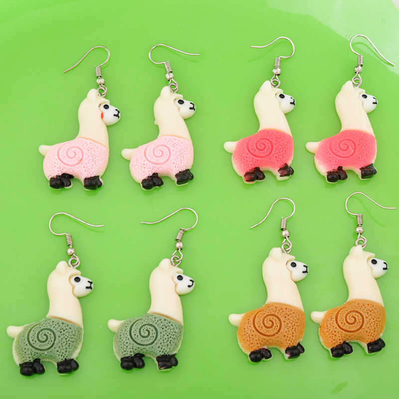 DIY fashion kawaii resin lama llamas Alpaca earrings drop dangle earrings earing jewelry for girl women boutique bijoux ornament