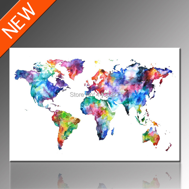 FREE SHIPPING World Map Canvas Wall Art Classical Design, Unframed