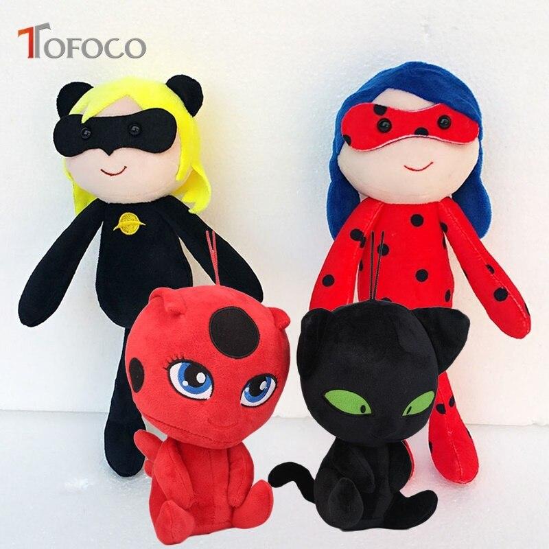 TOFOCO 20-25cm New Cartoon Kawaii Miraculous Ladybug Plush Stuffed Anime Toys For Children Dolls Model Cat Lady Bug Toy Brinqued