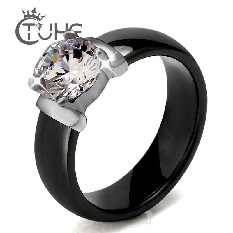 Anillos de cerámica blanco negro de 6 mm más circonita cúbica grande para mujer Joyería de compromiso de anillo de bodas de acero inoxidable para mujer Nunca se desvanece