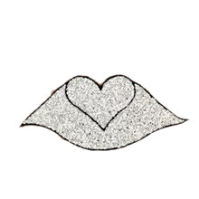 Clothing Women Shirt Top Diy Heart Patch Lip Silver Sequins deal with it T-shirt girls Patches for clothes Boy Sticker Badge(China)