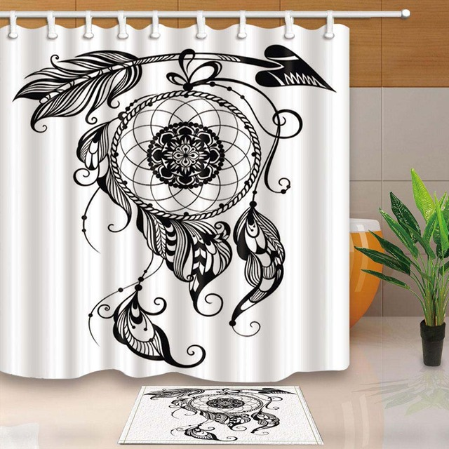 Polyester Waterproof White Shower Curtain Dream Catchers Printed Mildew Resistant Bath Home Bathroom Decor With Hooks