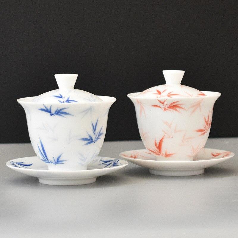 China Hand Painted Tea Set White Porcelain Gaiwan Tea Porcelain Pot Set