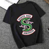Riverdale Sommer Frauen Schwarz T-shirt Riverdale T Shirt Plus Größe South Side Serpents T-shirt Jughead Mode Vintage Harajuku Top