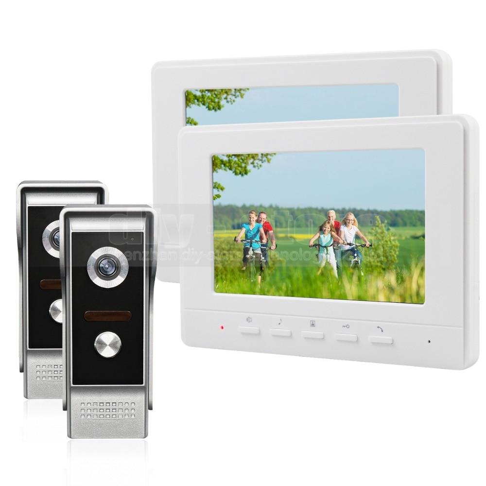 DIYSECUR 7inch Video Intercom Video Door Phone 700TV Line IR Night Vision Outdoor Camera for Home / Office Security System 2V2