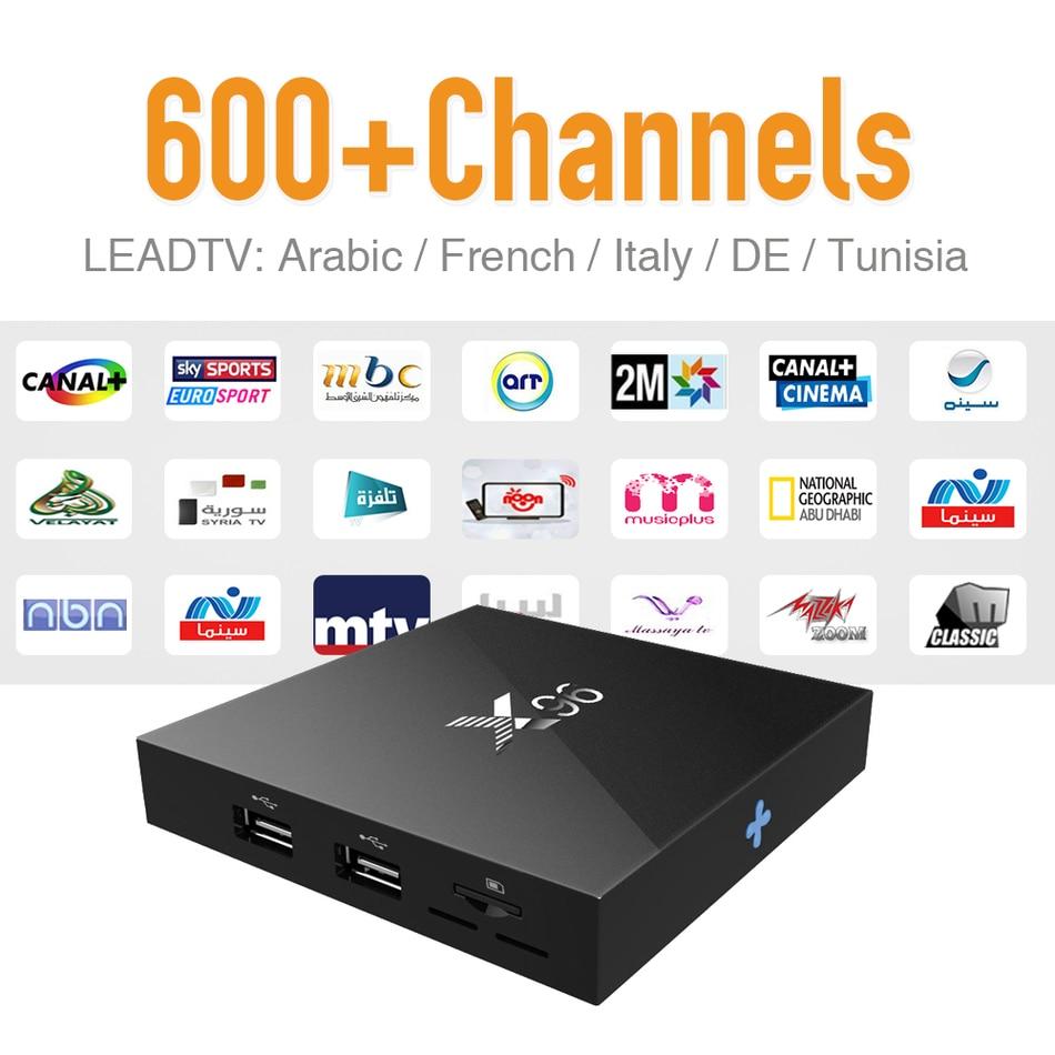 Nueva IPTV Caja Android 6.0 y 626 Árabe Europa Sport News Canales de IPTV de via