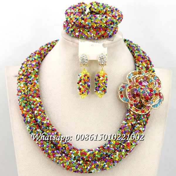 Multicolor African Beaded Jewelry Rare Bridal Jewelry Set Pretty Design New Arrival Free Shipping BN445 free shipping 10pcs 100% new pretty 531