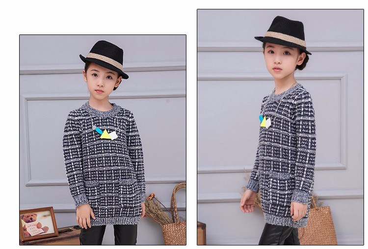 plaid knitting children sweater girl pullovers tops long sleeve autumn 2016 pockets knitted sweater for girls o-neck fall clothes 5 6 7 8 9 10 11 12 13 14 15 16 years old little big teenage girls children sweater girl 2016 (10)