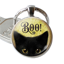Fashion Halloween Kitty Animal Boo Black Cat Pendant Trick or Treat Jewelry Glass Dome Cute Kitten Key Chain Ring Fob Gift