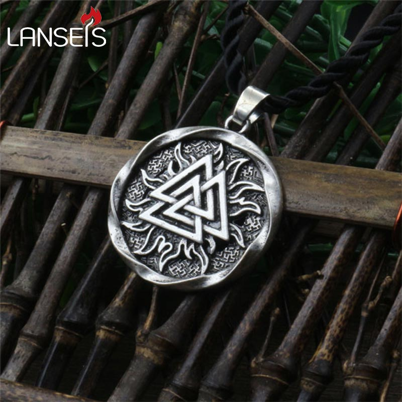 1pcs The Valknut Viking Pendant Viking Necklace Scandinavian Norse Viking Jewelry Norway men necklace
