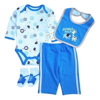 2017 Newborn Boy Clothes Baby Clothing Sets Cotton Long Blue Cute Infant Clothing Bib T Shirt