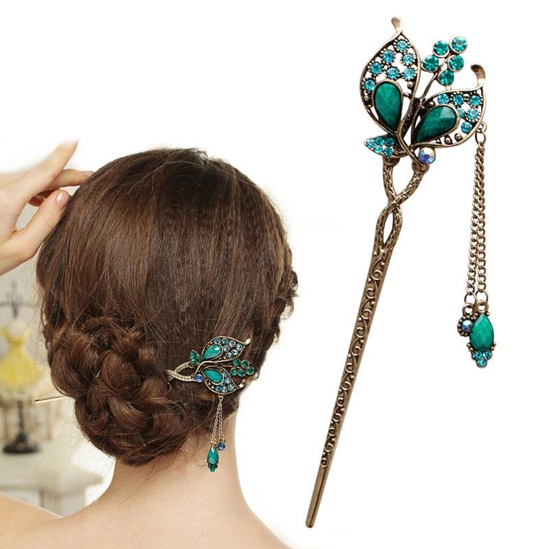 Новинка, женская элегантная заколка-бабочка с листьями, модная шпилька для волос стразы, палочка для волос в подарок другу #11