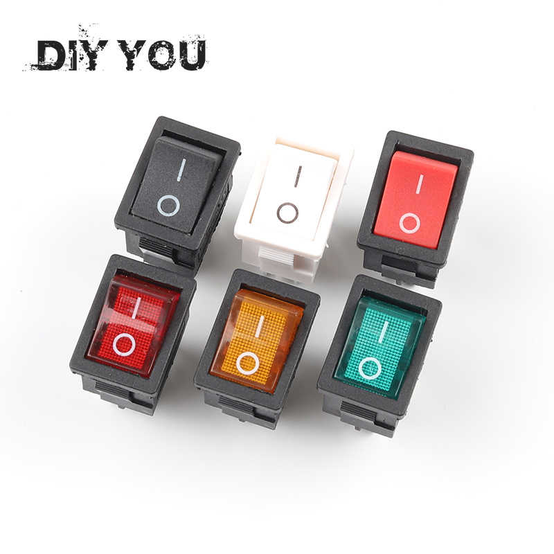 5 PCS/LOT KCD1 4 Pin 21*15mm ON-OFF Boat Car Rocker Switch 6A/250V AC 10A/125V AC With Red Blue Green Yellow Light Switch