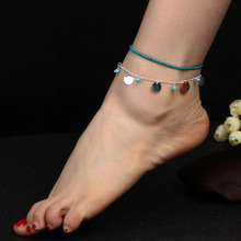 Bohemian Blue Stone Beaded Round Foot Kit Hot National Wind Ankle Fashion Jewelry