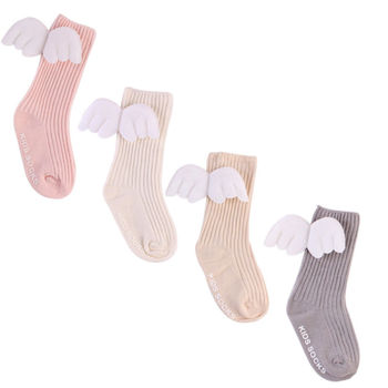 For Age 0-4Y Baby Kids Socks Toddlers Girls Knee High Angle Wing Socks Leg Warmer Baby Clothing