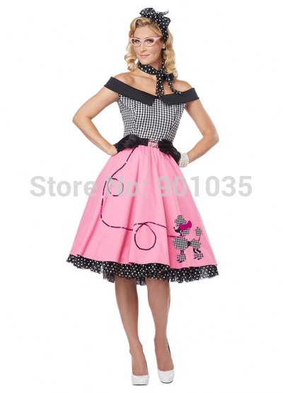Free Shipping Rock N Roll Dress 1950s Las Fancy Grease Fifties Womens Costume Outfit