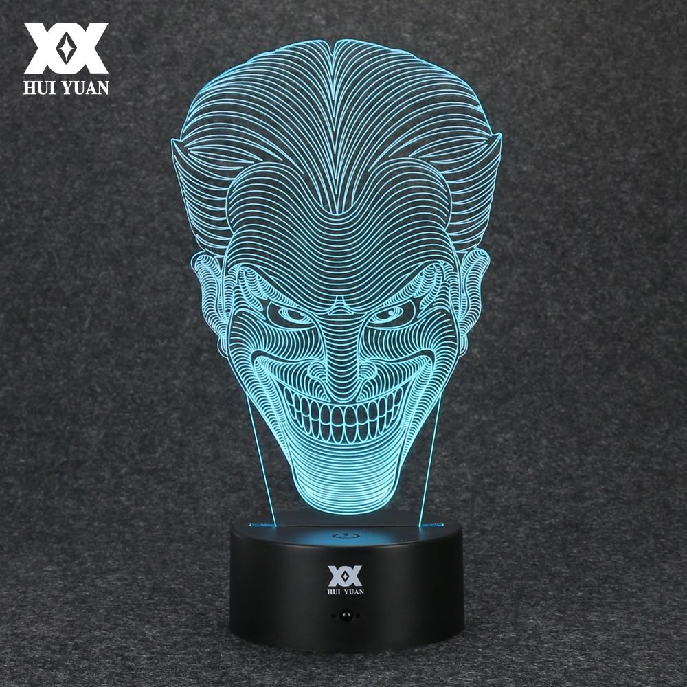 Batman Motståndare Joker 3D-lampa USB Jack Nyhet Nattlampa LED Skrivbord Dekoration Bordslampor Rolig present HUI YUAN Märke