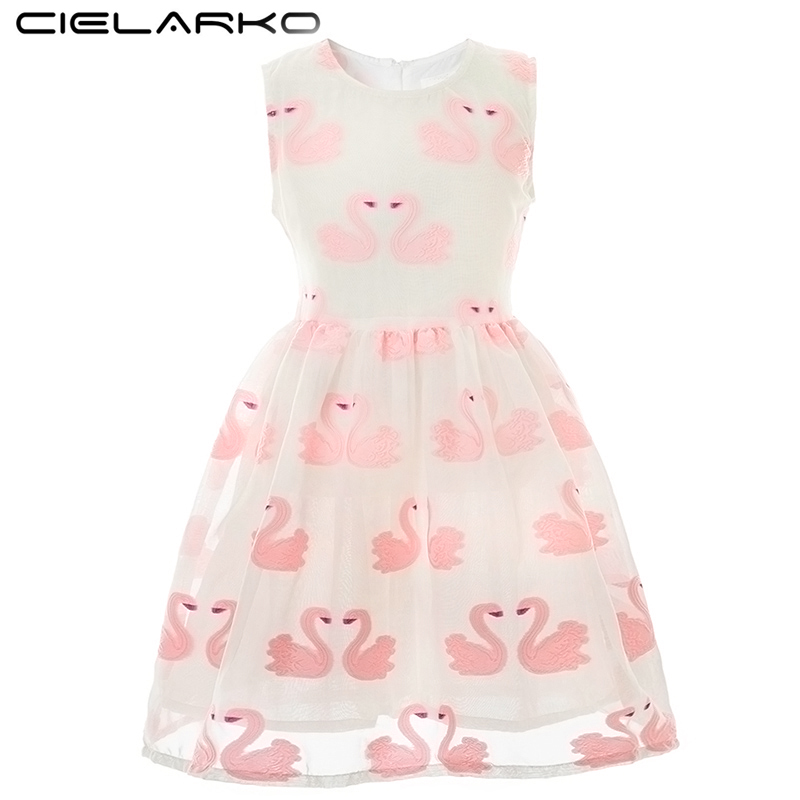 Cielarko Girls Print Dress Rosa Strawberry Summer Kids Dresses Bomull Princess Beach Baby Frock Fashion Barn Dagliga Kläder