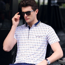 New men's Short Sleeve Polo Shirts 2017 Summer Fashion Printing Plus Size Business Casual Polo Shirts Men M~3XL C15D8112