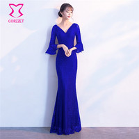 Blue Floral Lace Beading V Neck Backless Flare Sleeve Floor Length Slim Sexy Party Dresses Night
