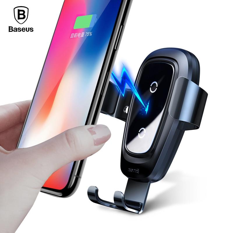 Baseus Qi cargador inalámbrico titular del coche para el iPhone XS X Samsung S9 Note9 titular del teléfono móvil soporte de ventilación sostenedor del teléfono del coche