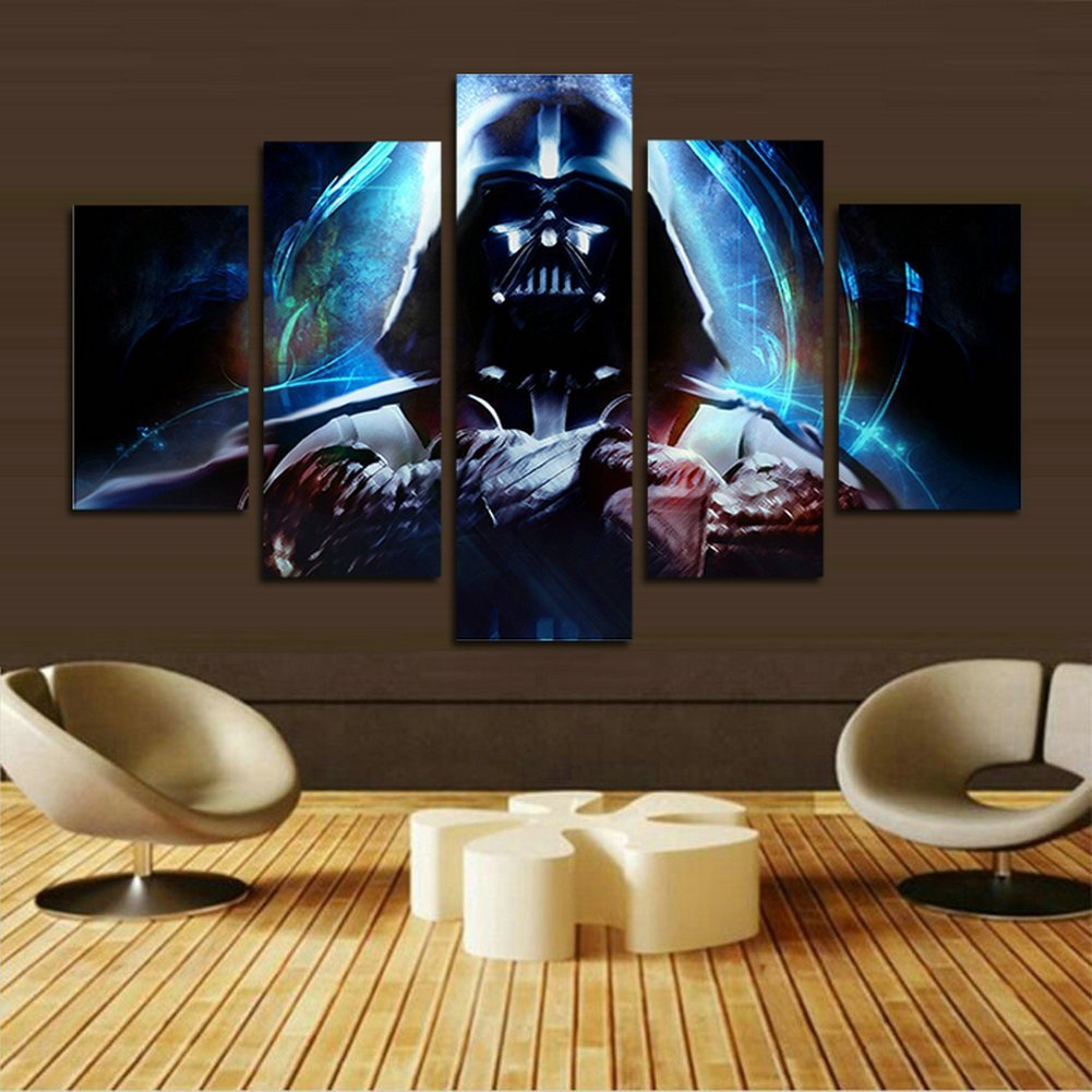 5 Panels Star Wars Darth Vader Canvas Painting Print Wall Art Poster For Home Room Decor Gift