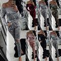5 cor xl Moda Hot Fora do ombro Com Cordão Escavar Velvet Casual Sexy mulheres combinaison macacões Feminino Rompers catsuits