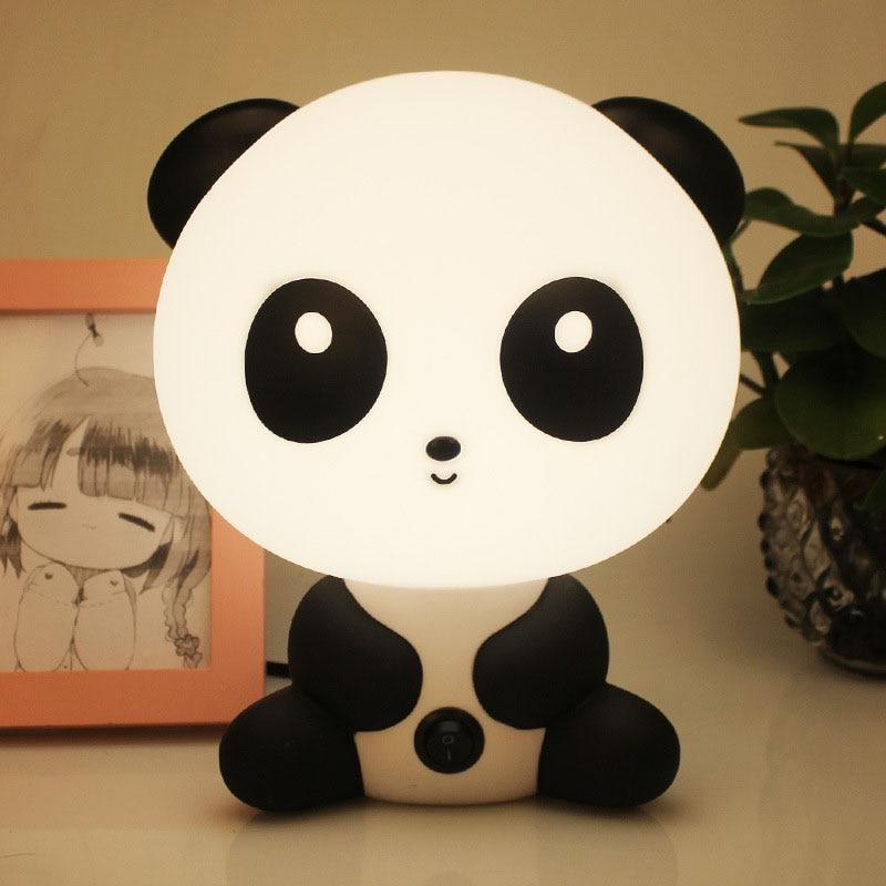 Baby Night Light Panda Night Light Baby Bedroom Lamp Cartoon Pets Panda Unicorn Sleep Led Kid Lamp Bulb Table Lamps Children Gif