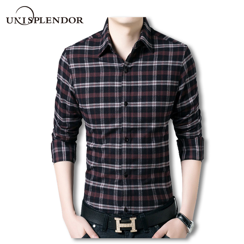 Mens check shirt flannel long sleeve men plaid shirts slim for Mens slim fit flannel shirt