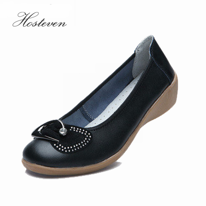 Women's Shoes Brand Casual Genuine Leather  Rhinestone Bowtie Loafers Woman Fashion Flats Ladies Soft Zapatos Mujer Shoe men genuine leather shoes top brand new fashion casual loafers soft and comfortable oxfords crocodile skin flats zapatos hombre