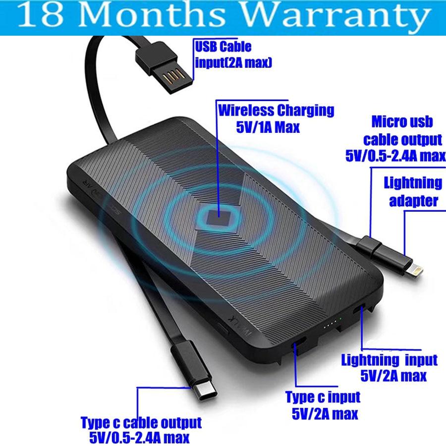 iWalk QI Wireless Power Bank 8000mah 5W 2.4A with Micro usb Type C Cable for Xiaomi Mi8 Samsung S9 Huawei P20 iPhone X 8