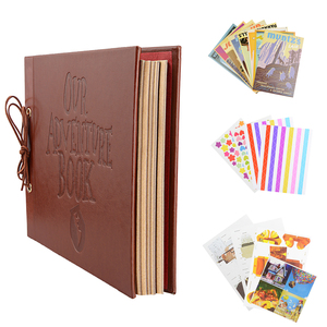Image 3 - Винтажный альбом из крафт бумаги, 80 страниц, набор карт, альбом с надписью «My Adventure» и инструментом «сделай сам», фотоальбом для скрапбукинга