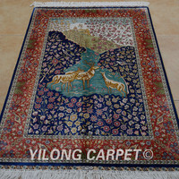 Yilong 3'x4.5' Antique oriental blue deer carpet exquisite hand knotted fine persian rugs (1088)